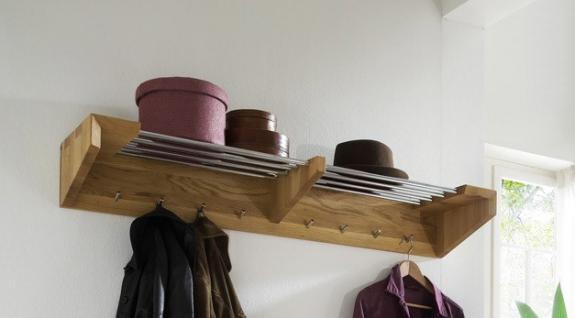 Garderobe Wandgarderobe Hakenleiste Wildeiche massiv geölt Flur Diele - Vorschau 1