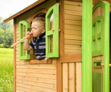 Spielhaus hoch Spielhütte Holzspielhaus für Kinder mit Sandkasten Abdeckung - Vorschau 4