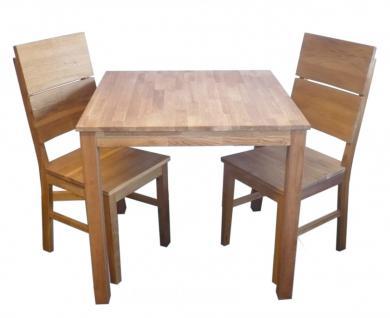 kleine Tischgruppe Tisch + 2 Stühle Eiche massiv geölt Massivholz 80 x 80 cm - Vorschau 1