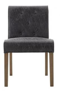 Polsterstuhl 2er Set Stuhl Esszimmerstuhl Leder grau grey Knopfheftung Esszimmer - Vorschau