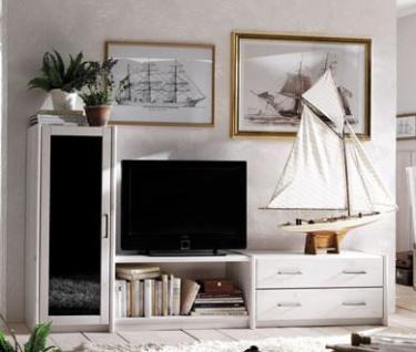 Wohnwand Wohnregal TV Vitrine Fernsehwand Kiefer weiß massiv - Vorschau 1