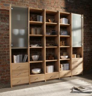 wohnwand regalwand vitrine regal kernbuche massiv ge lt wohnsystem regalsystem kaufen bei saku. Black Bedroom Furniture Sets. Home Design Ideas