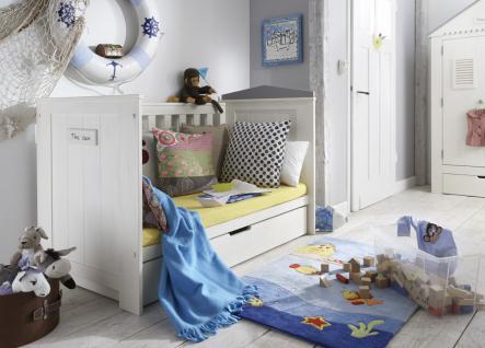 Babybett Gitterbett höhenverstellbar Schlupfsprossen Pinie massiv weiß grau - Vorschau 2