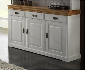 Kommode Geschirrschrank Sideboard Anrichte Kiefer massiv weiss / honigfarben - Vorschau