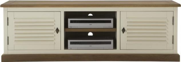 Lowboard TV-Board Konsole Pinie Wildeiche massiv geölt antik weiß East Coast - Vorschau 1
