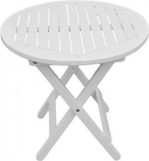 Beistelltisch Eukalyptus FSC massiv weiß lackiert Tisch Garten Balkon - Vorschau