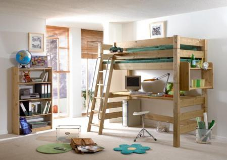 Etagenbett Hochbett Jugendbett Kiefer massiv schräger Leiter Kinderzimmer modern