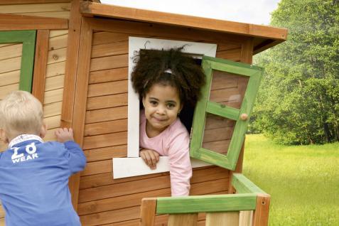 Spielhaus mit Terrasse Zaun Holzspielhütte für Kinder Garten Zeder TÜV geprüft - Vorschau 3