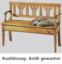 Bank Truhenbank Sitzbank Sprossentruhenbank Fichte massiv antik weiß vintage - Vorschau 3