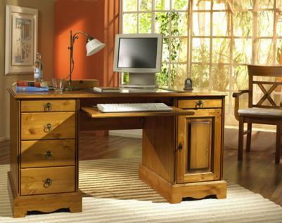 Schreibtisch Bürotisch Arbeitstisch Computertisch Büro Kiefer massiv patiniert - Vorschau 1