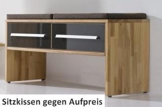 Bank Schubladenbank Schuhbank Kernbuche massiv geölt Flur Gardeorbe Lackfront - Vorschau 2