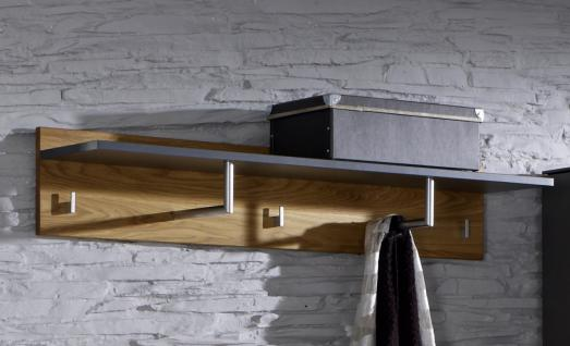 Wandpaneel Wandgarderobe Garderobe Flur Diele Wildeiche massiv graphit grau