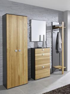 Garderobe Set Garderobenset Schrank Schuhschrank Wildeiche teilmassiv graphit grau