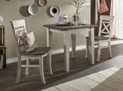 Tischgruppe Tisch + 2 Stühle kleine Küche Kiefer massiv weiß Landhaus - Vorschau 1