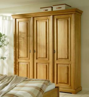 Schrank Kleiderschrank Schlafzimmer Fichte massiv antik gewachst 3-türig - Vorschau 1