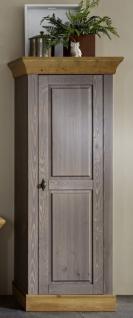 Hochschrank Vitrine Schrank Wohnzimmer Kiefer massiv grau laugenfarbig