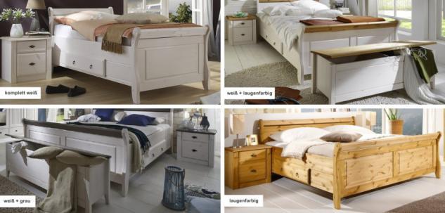 Bett Nachtkommode Truhe Schlafzimmer Set Kiefer massiv weiß grau Landhaus - Vorschau 3