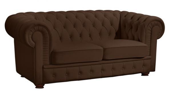 Sofa 2 Sitzer Solitär Lederlook braun weiß schwarz Buche massiv old england - Vorschau 2