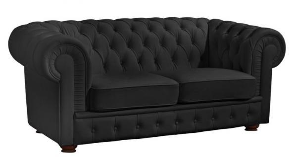 Sofa 2 Sitzer Solitär Lederlook braun weiß schwarz Buche massiv old england - Vorschau 3