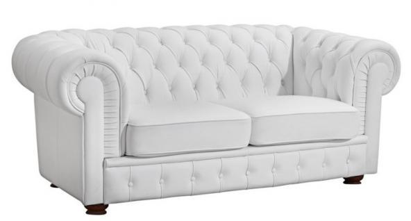Sofa 2 Sitzer Solitär Lederlook braun weiß schwarz Buche massiv old england - Vorschau 4