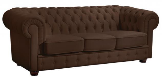 Sofa 3 Sitzer Couch Textilsofa Lederlook braun weiß schwarz Buche massiv - Vorschau 3