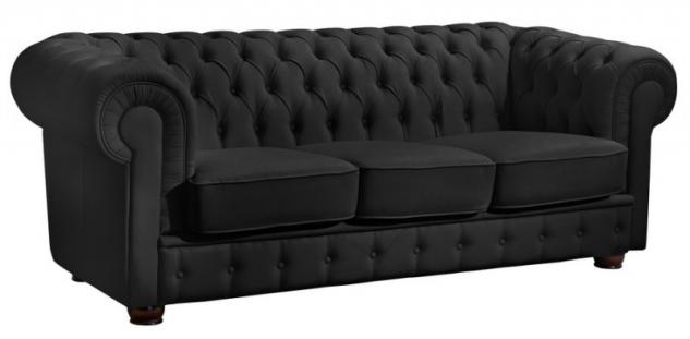 Sofa 3 Sitzer Couch Textilsofa Lederlook braun weiß schwarz Buche massiv - Vorschau 4