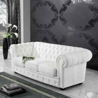 Sofa 3 Sitzer Couch Textilsofa Lederlook braun weiß schwarz Buche massiv - Vorschau 2