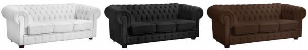 Sofa 3 Sitzer Couch Textilsofa Lederlook braun weiß schwarz Buche massiv - Vorschau 1