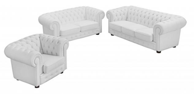 Garnitur Couchgarnitur 3tlg Sofa Sessel Leder oder Kunstleder braun weiß schwarz - Vorschau 2