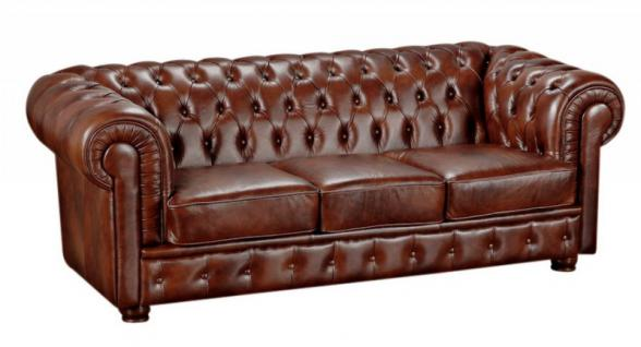 Sofa Couch Ledersofa 3-stizig Leder Wischleder vintage rot braun klassisch - Vorschau 3