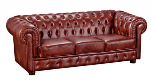Sofa Couch Ledersofa 3-stizig Leder Wischleder vintage rot braun klassisch - Vorschau 2