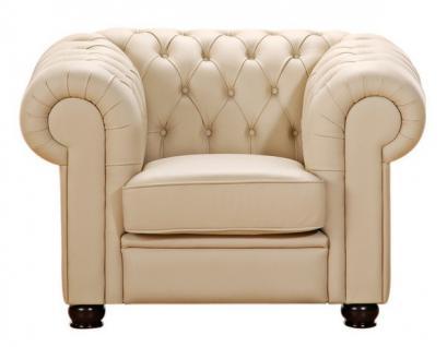 Sessel Clubsessel braun beige in Leder oder Kunstleder Knopfheftung klassisch - Vorschau 2