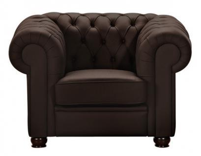 Sessel Clubsessel braun beige in Leder oder Kunstleder Knopfheftung klassisch - Vorschau 3