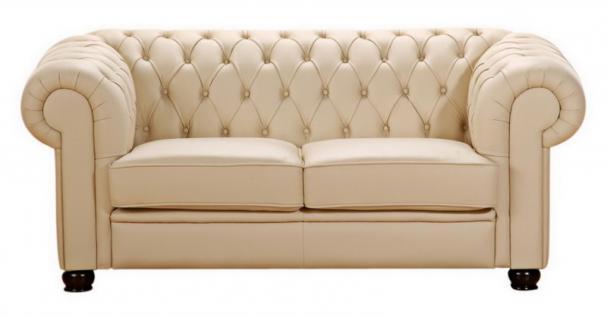 Sofa Couch 2 Sitzer braun beige in Leder oder Kunstleder Knopfheftung klassisch - Vorschau 2
