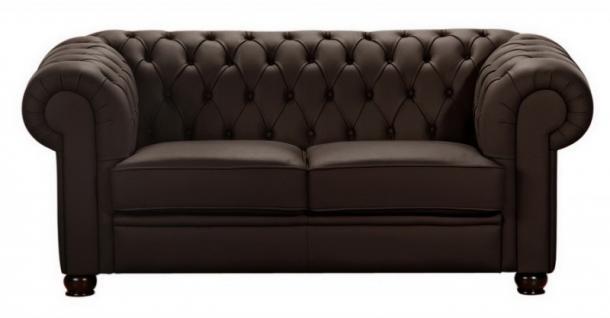 Sofa Couch 2 Sitzer braun beige in Leder oder Kunstleder Knopfheftung klassisch - Vorschau 3