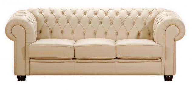 Sofa Couch 3-sitzig braun beige in Leder oder Kunstleder Knopfheftung klassisch - Vorschau 2