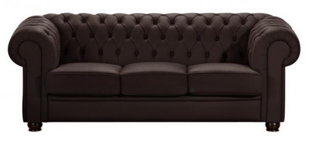 Sofa Couch 3-sitzig braun beige in Leder oder Kunstleder Knopfheftung klassisch - Vorschau 3