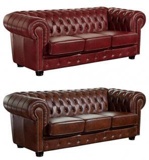 Sofa Couch Ledercouch 3-sitzig Leder Wischleder vintage rot braun Ziernieten