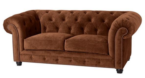 Sofa Couch 2-sitzig Samt Samtvelour Buche grau schwarz burgund creme braun - Vorschau 1
