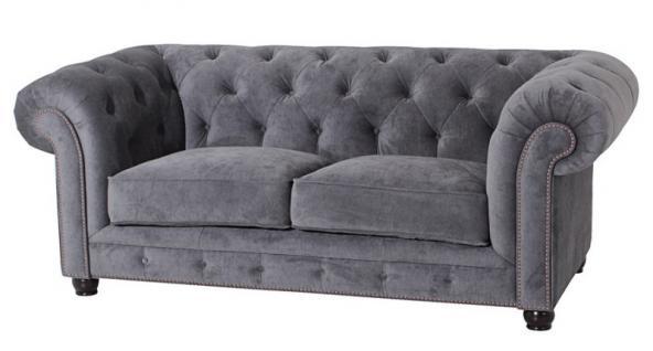 Sofa Couch 2-sitzig Samt Samtvelour Buche grau schwarz burgund creme braun - Vorschau 4