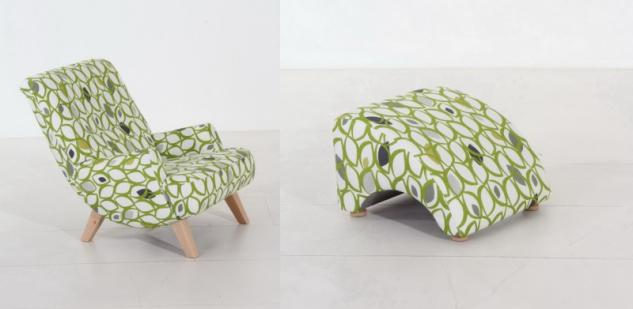Sessel Liegesessel Relaxsessel mit Hocker Retro grün Muster Blatt Baumwolle