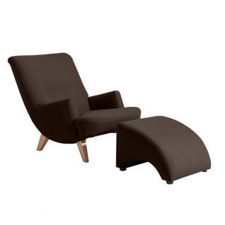 Sessel mit Hocker Relax Retro Leinenoptik Polyester sanft gedeckte Farben - Vorschau 2