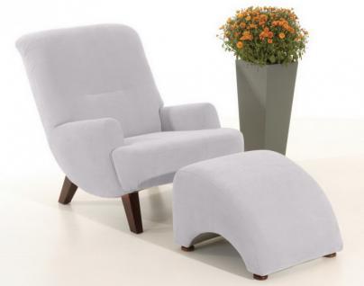 Sessel mit Hocker Relax Retro Stil weich Stoffbezug viele Farben erhältlich