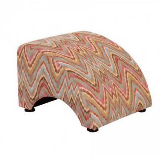 Sessel Liegesessel Relaxsessel mit Hocker Retro Stil natur bunt Muster - Vorschau 2