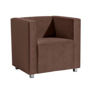 Sessel Clubsessel Einzelsessel kubisch modern verchromt Rücken echt bezogen - Vorschau 1
