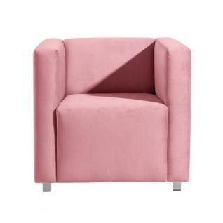 Sessel Clubsessel Einzelsessel kubisch modern verchromt Rücken echt bezogen - Vorschau 3