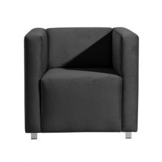 Sessel Clubsessel Einzelsessel kubisch modern verchromt Rücken echt bezogen - Vorschau 4