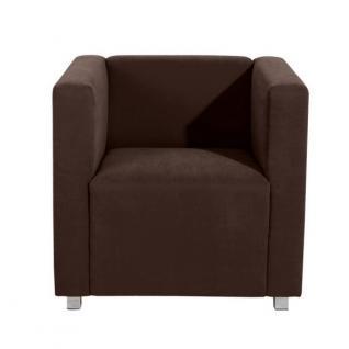 Sessel Clubsessel Einzelsessel kubisch modern Metallfüße Rücken echt bezogen - Vorschau 2