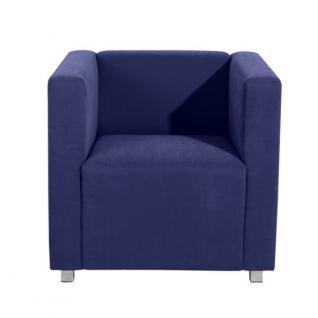 Sessel Clubsessel Einzelsessel kubisch modern Metallfüße Rücken echt bezogen - Vorschau 3