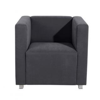 Sessel Clubsessel Einzelsessel kubisch modern Metallfüße Rücken echt bezogen - Vorschau 4